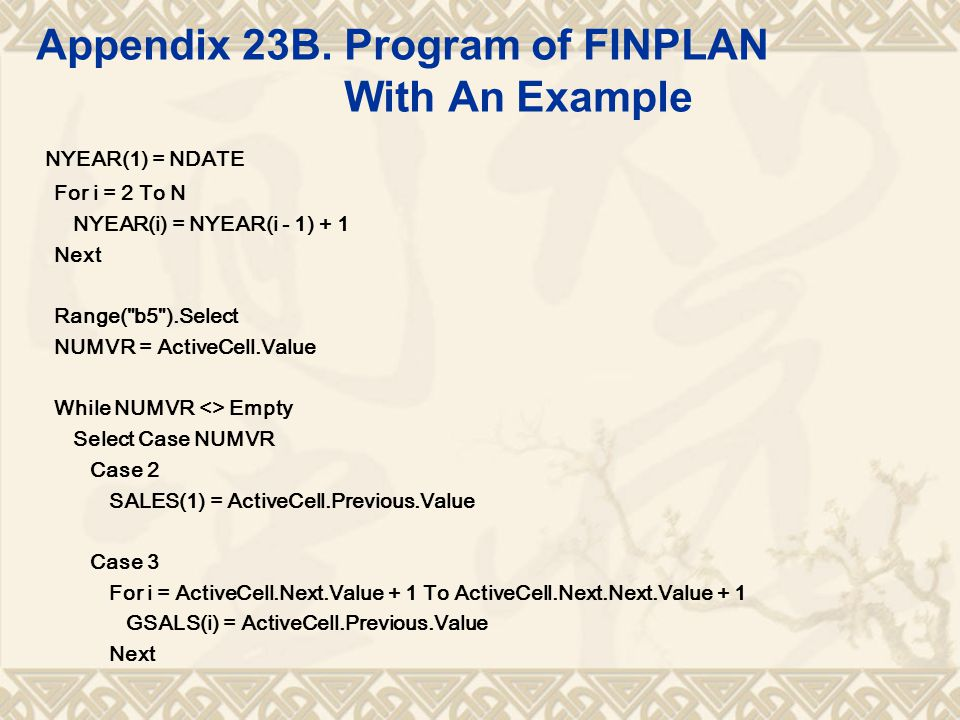 Appendix 23B. Program of FINPLAN With An Example NYEAR(1) = NDATE For i = 2 To N NYEAR(i) = NYEAR(i - 1) + 1 Next Range(