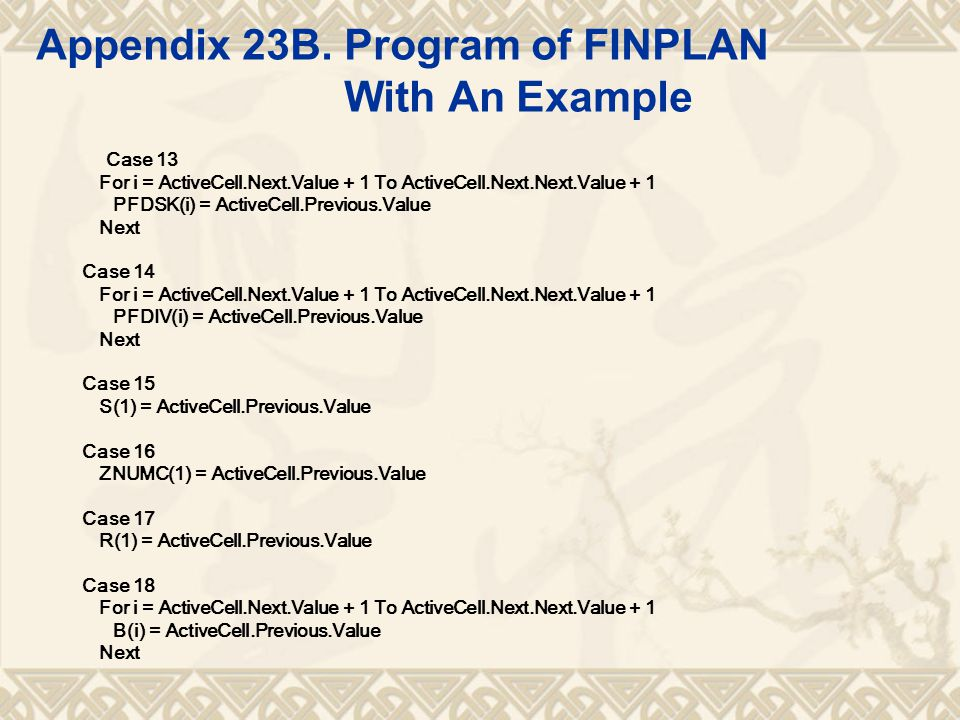 Appendix 23B. Program of FINPLAN With An Example Case 13 For i = ActiveCell.Next.Value + 1 To ActiveCell.Next.Next.Value + 1 PFDSK(i) = ActiveCell.Pre