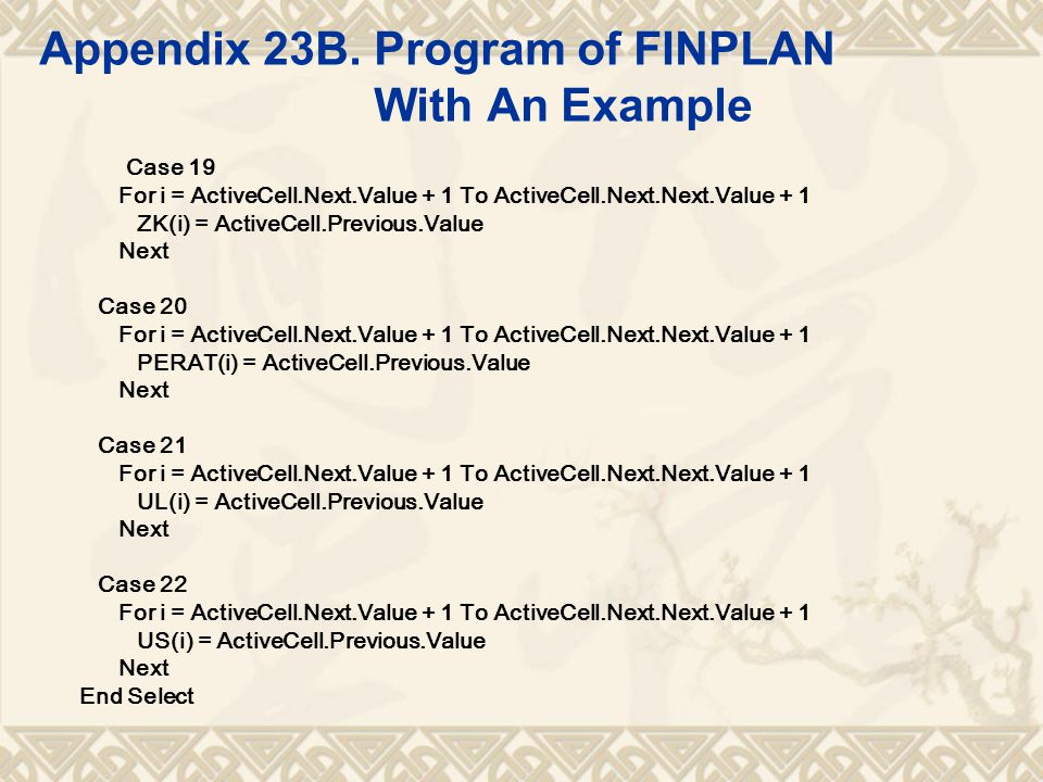 Appendix 23B. Program of FINPLAN With An Example Case 19 For i = ActiveCell.Next.Value + 1 To ActiveCell.Next.Next.Value + 1 ZK(i) = ActiveCell.Previo