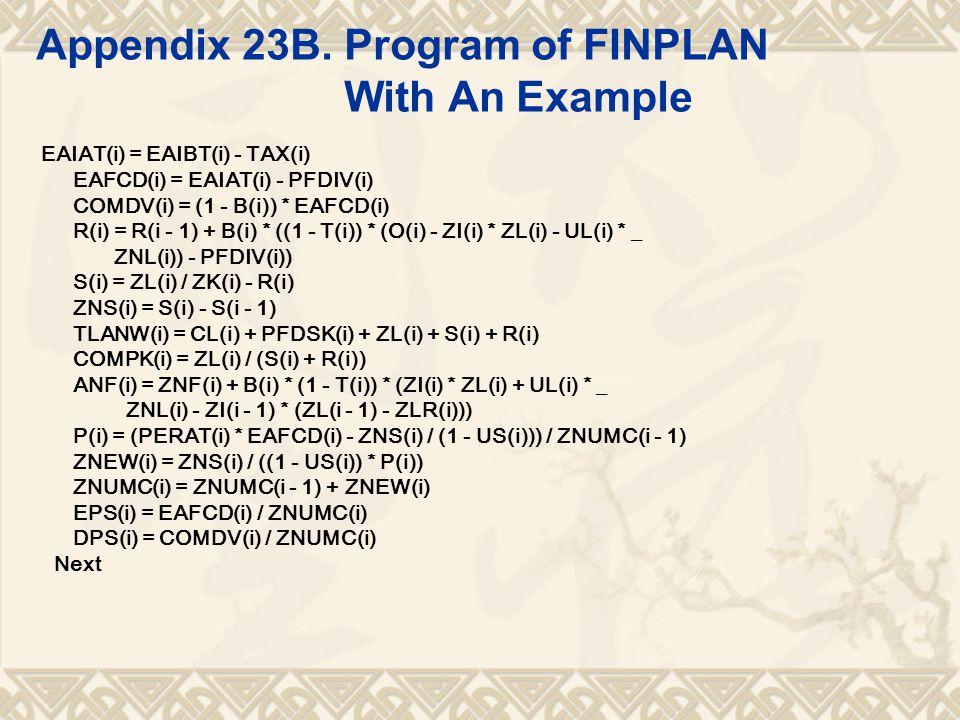 Appendix 23B. Program of FINPLAN With An Example EAIAT(i) = EAIBT(i) - TAX(i) EAFCD(i) = EAIAT(i) - PFDIV(i) COMDV(i) = (1 - B(i)) * EAFCD(i) R(i) = R