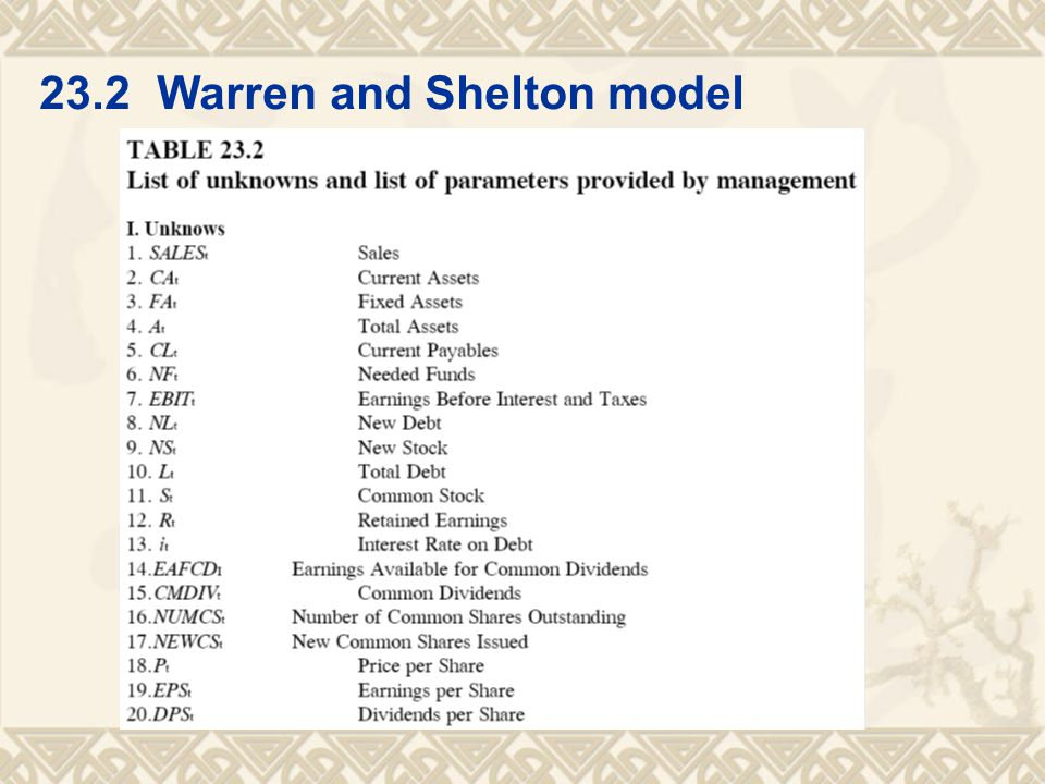 23.2 Warren and Shelton model
