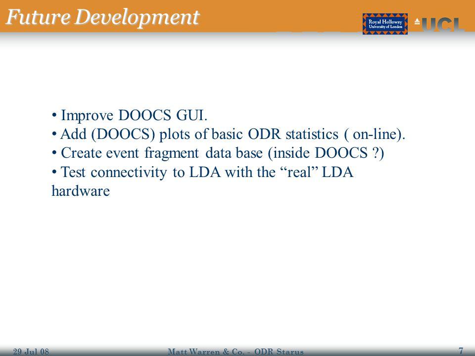 7 29 Jul 08Matt Warren & Co. - ODR Starus Future Development Improve DOOCS GUI.