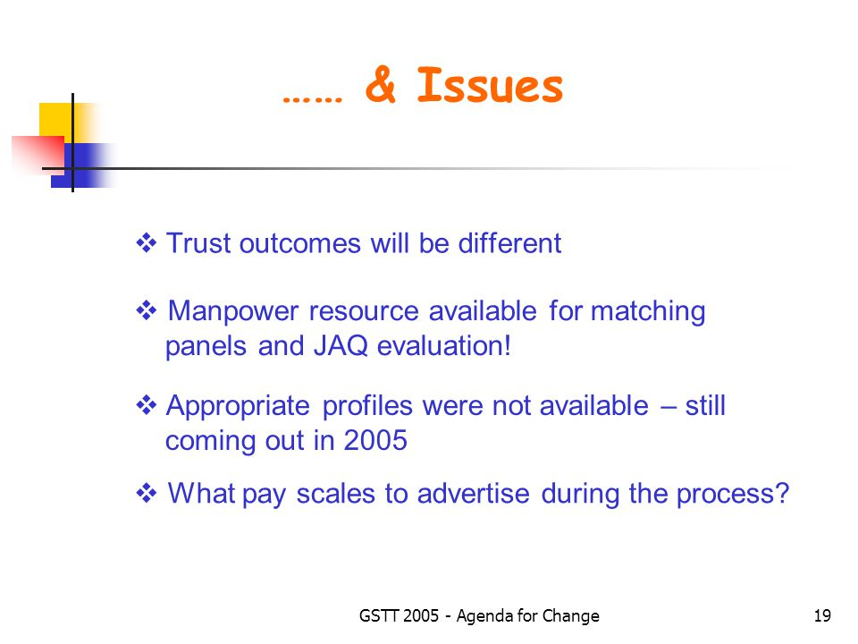 GSTT 2005 - Agenda for Change19 …… & Issues  Trust outcomes will be different  Appropriate profiles were not available – still coming out in 2005  What pay scales to advertise during the process.