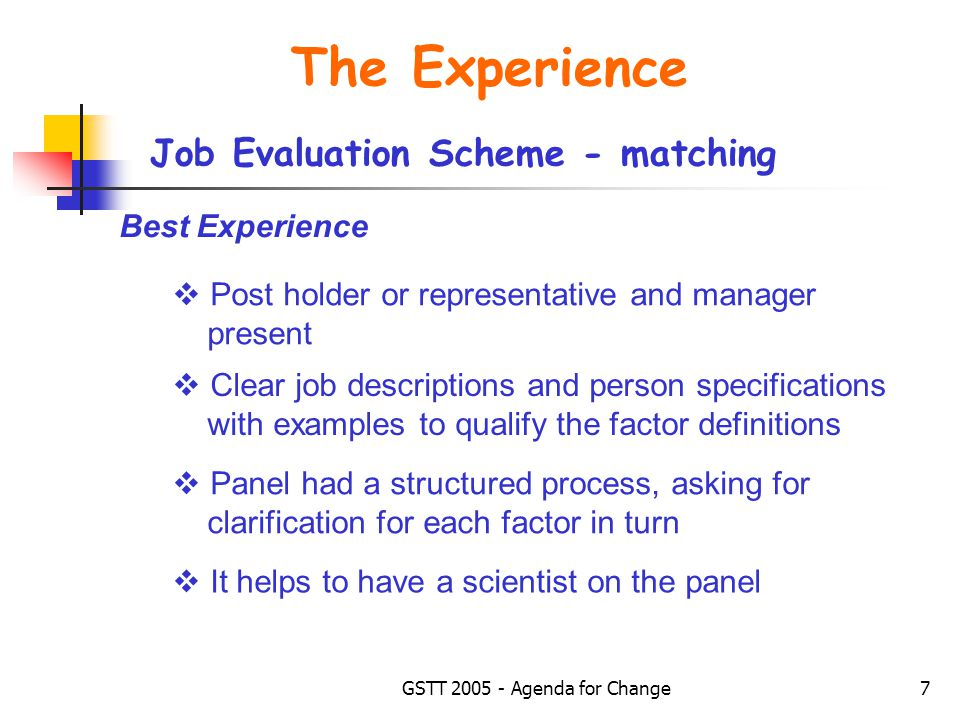 GSTT 2005 - Agenda for Change7 The Experience Job Evaluation Scheme - matching  Post holder or representative and manager present  Clear job descriptions and person specifications with examples to qualify the factor definitions  Panel had a structured process, asking for clarification for each factor in turn Best Experience  It helps to have a scientist on the panel