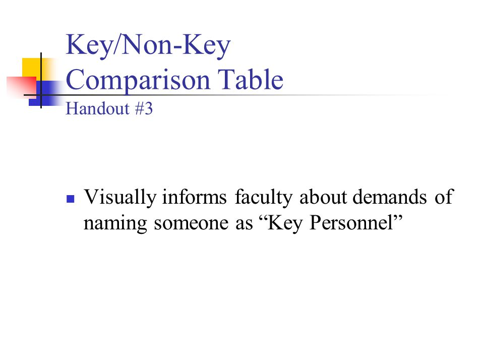 Key/Non-Key Comparison Table Handout #3 Visually informs faculty about demands of naming someone as Key Personnel