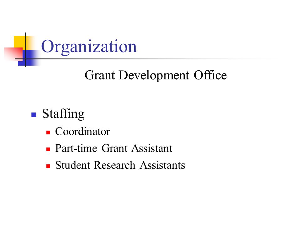 Organization Grant Development Office Staffing Coordinator Part-time Grant Assistant Student Research Assistants