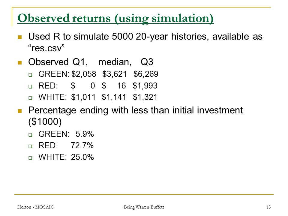 Observed returns (using simulation) Used R to simulate 5000 20-year histories, available as res.csv Observed Q1, median, Q3  GREEN: $2,058 $3,621 $6,269  RED: $ 0 $ 16 $1,993  WHITE: $1,011 $1,141 $1,321 Percentage ending with less than initial investment ($1000)  GREEN: 5.9%  RED: 72.7%  WHITE: 25.0% Horton - MOSAIC Being Warren Buffett 13