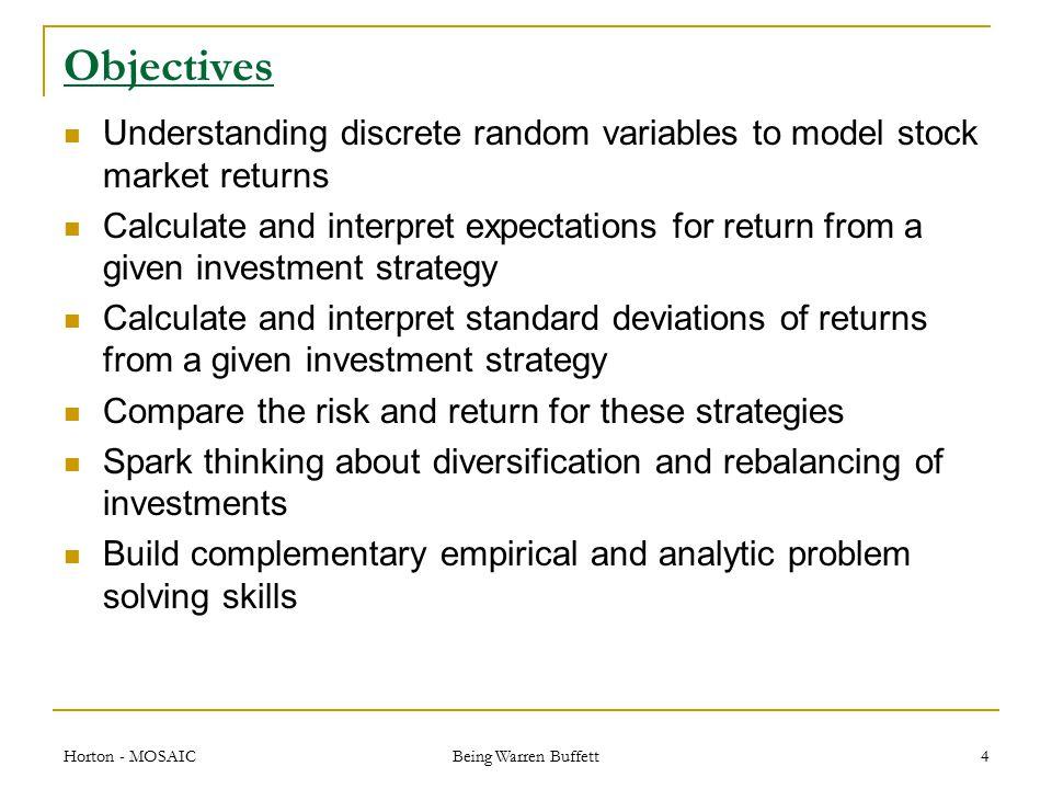 How to implement PINK Horton - MOSAIC Being Warren Buffett 15 Pink $1000 31 $3000 $1000 $2000 2 0.0510.525 $150$1000 $1050