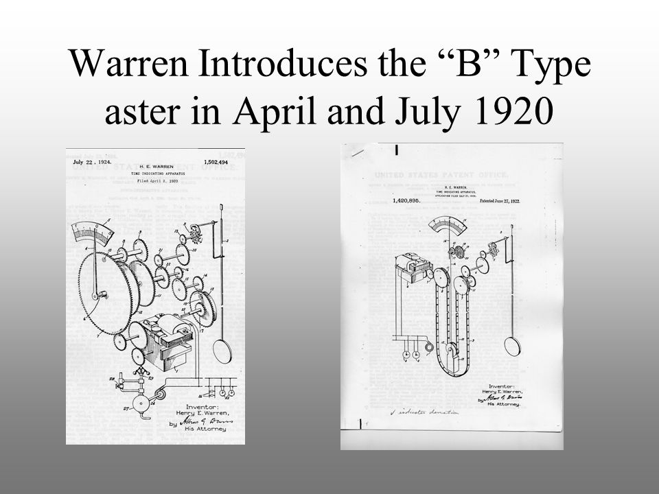 """Warren Introduces the """"B"""" Type aster in April and July 1920"""