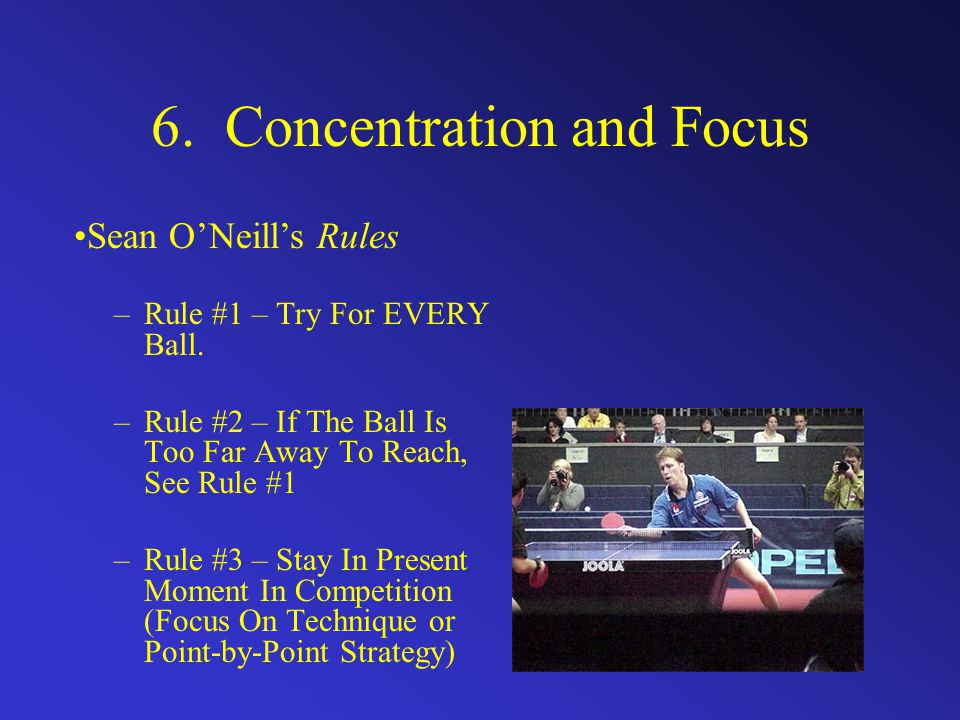 6. Concentration and Focus –Rule #1 – Try For EVERY Ball.
