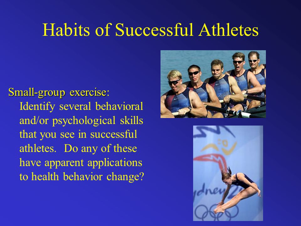 Habits of Successful Athletes Small-group exercise Small-group exercise: Identify several behavioral and/or psychological skills that you see in successful athletes.