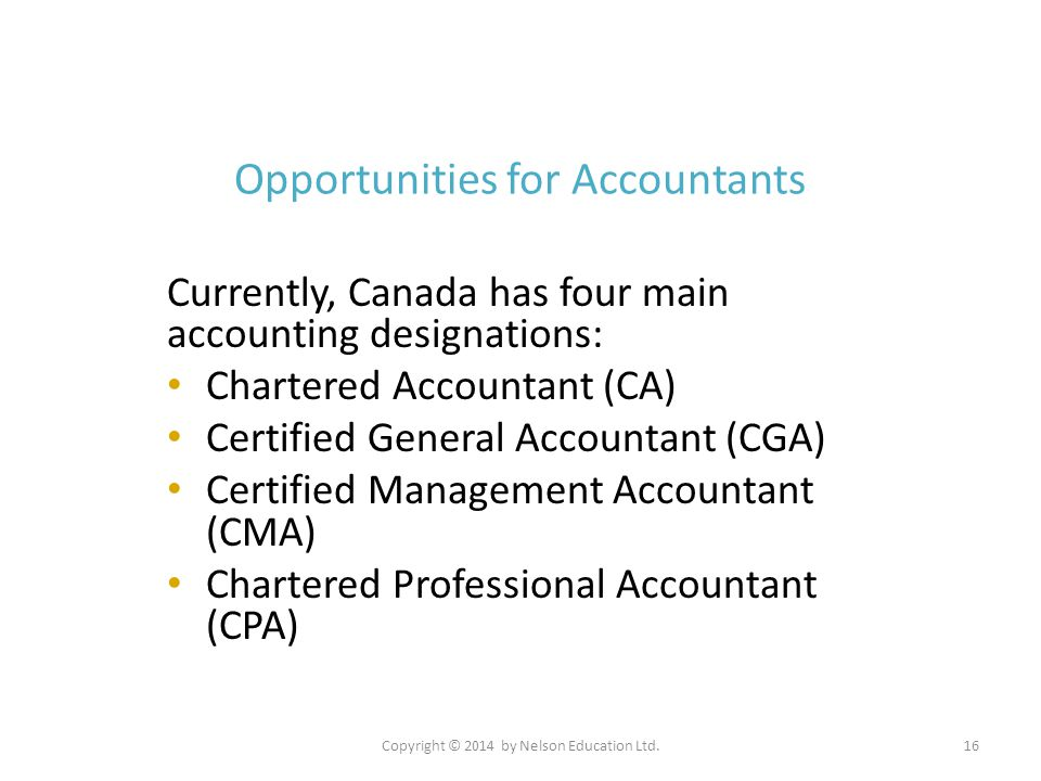 Copyright © 2014 by Nelson Education Ltd.16 Opportunities for Accountants Currently, Canada has four main accounting designations: Chartered Accountan
