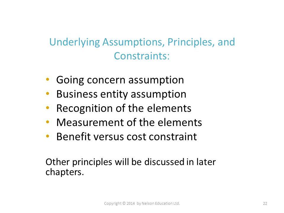 Copyright © 2014 by Nelson Education Ltd.22 Underlying Assumptions, Principles, and Constraints : Going concern assumption Business entity assumption