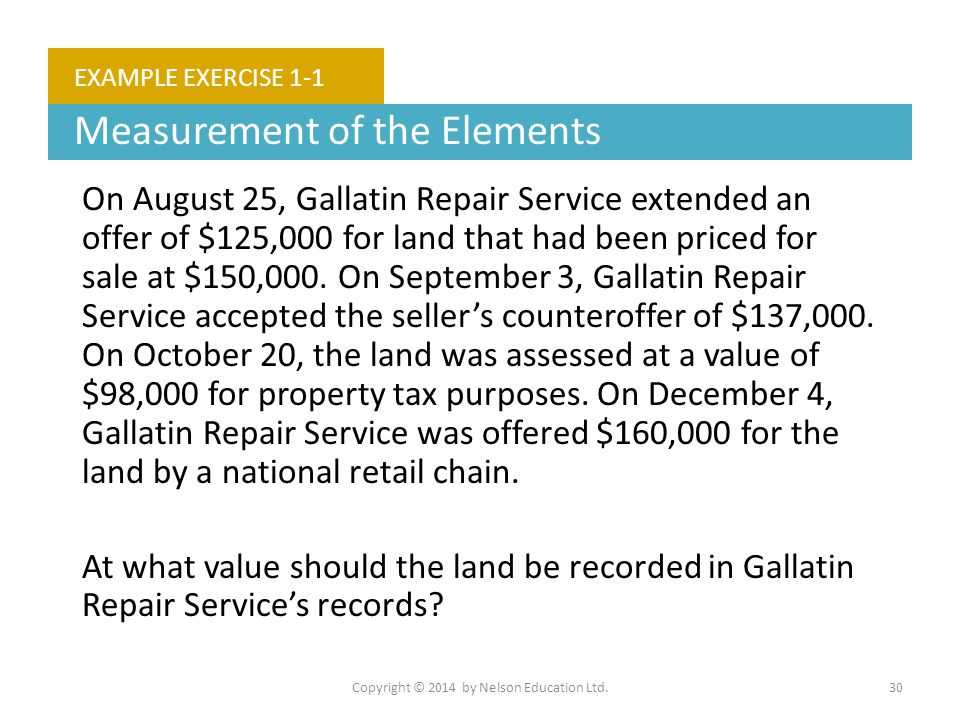 Copyright © 2014 by Nelson Education Ltd.30 EXAMPLE EXERCISE 1-1 Measurement of the Elements On August 25, Gallatin Repair Service extended an offer o