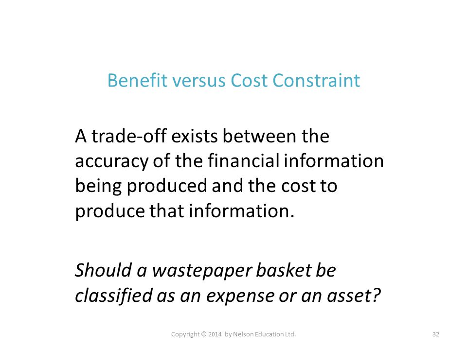 Copyright © 2014 by Nelson Education Ltd.32 Benefit versus Cost Constraint A trade-off exists between the accuracy of the financial information being