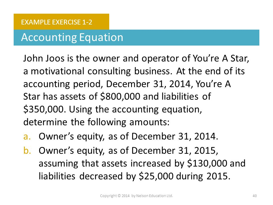 Copyright © 2014 by Nelson Education Ltd.40 EXAMPLE EXERCISE 1-2 Accounting Equation John Joos is the owner and operator of You're A Star, a motivatio
