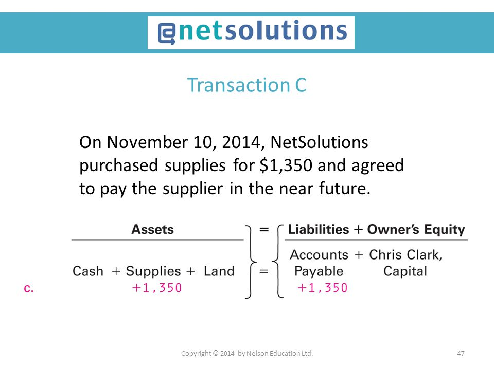 Copyright © 2014 by Nelson Education Ltd.47 Transaction C On November 10, 2014, NetSolutions purchased supplies for $1,350 and agreed to pay the suppl