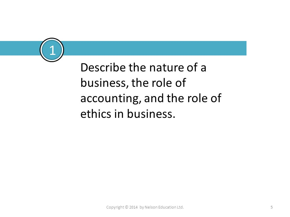 Copyright © 2014 by Nelson Education Ltd.5 Describe the nature of a business, the role of accounting, and the role of ethics in business. 1