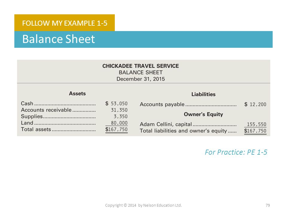 Copyright © 2014 by Nelson Education Ltd.79 FOLLOW MY EXAMPLE 1-5 Balance Sheet For Practice: PE 1-5