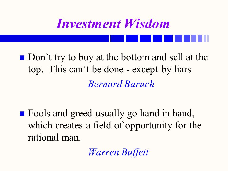 Buffet's Tenets: n n Buffet's Market Value Tenets: - What is the value of the business.