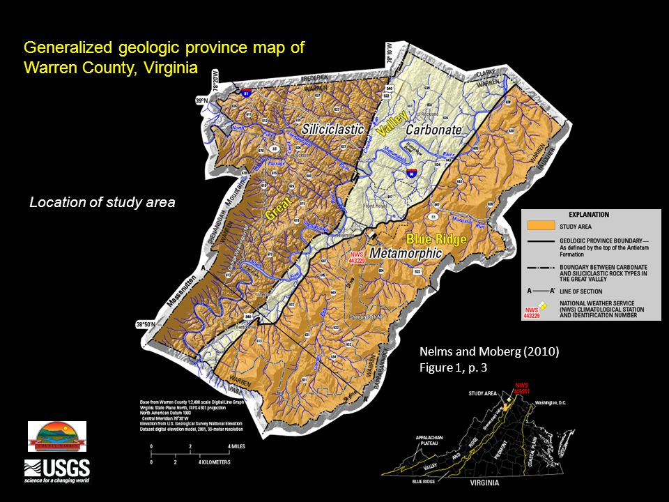 Generalized geologic province map of Warren County, Virginia Location of study area Nelms and Moberg (2010) Figure 1, p. 3