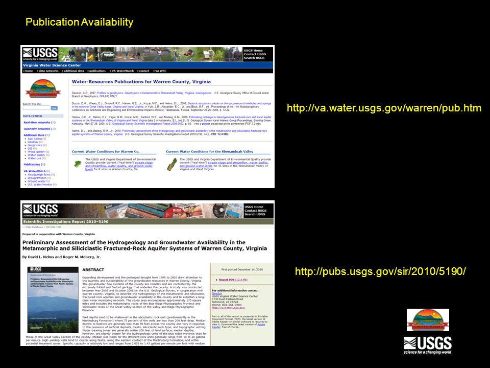 http://va.water.usgs.gov/warren/pub.htm http://pubs.usgs.gov/sir/2010/5190/ Publication Availability