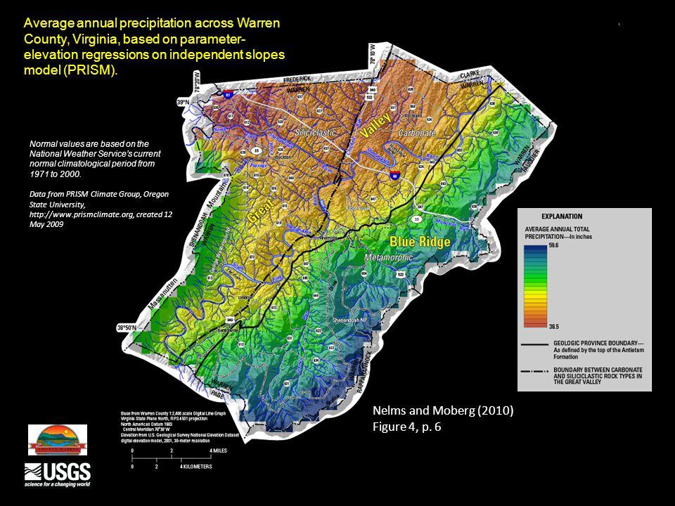 Depth to top of lower reported water-bearing zones in Warren County, Virginia Nelms and Moberg (2010) Figure 11, p.