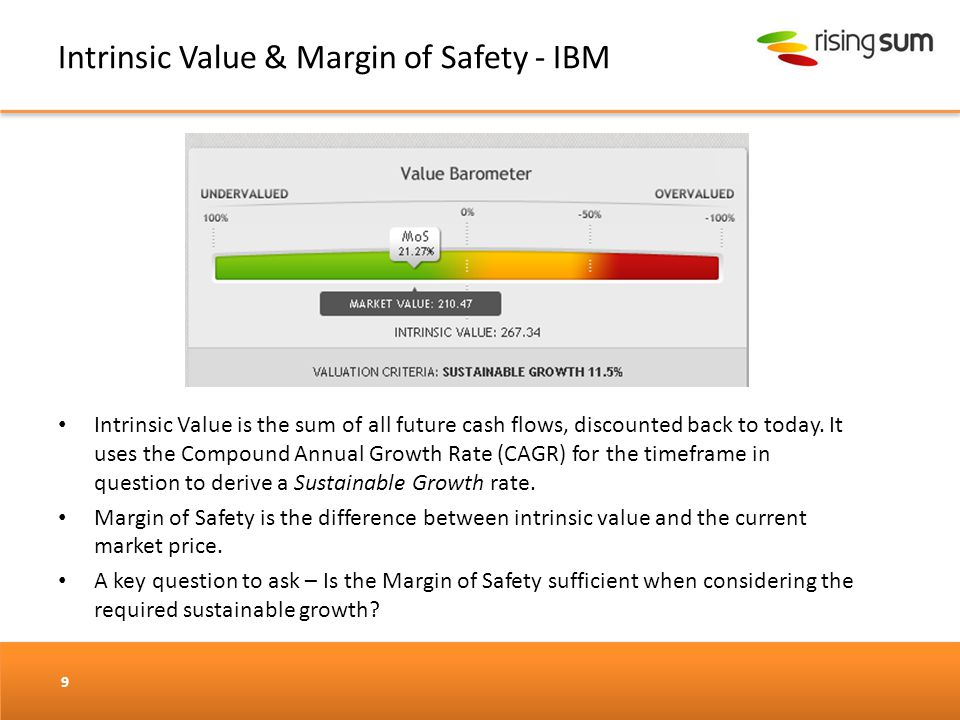 Intrinsic Value & Margin of Safety - IBM 9 Intrinsic Value is the sum of all future cash flows, discounted back to today. It uses the Compound Annual