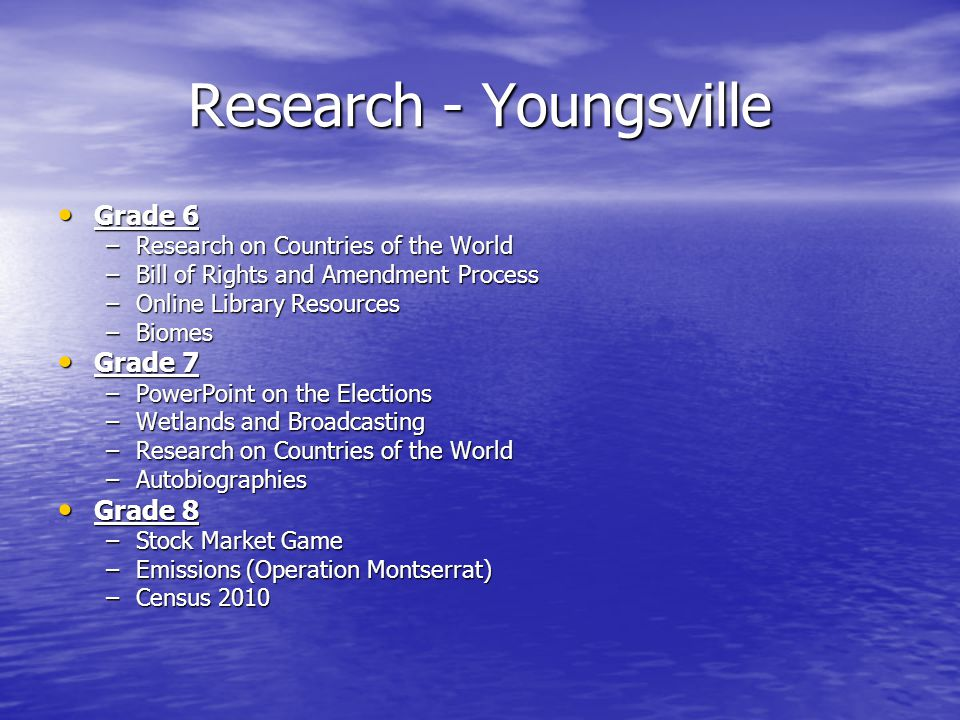 Research - Youngsville Grade 6 Grade 6 –Research on Countries of the World –Bill of Rights and Amendment Process –Online Library Resources –Biomes Grade 7 Grade 7 –PowerPoint on the Elections –Wetlands and Broadcasting –Research on Countries of the World –Autobiographies Grade 8 Grade 8 –Stock Market Game –Emissions (Operation Montserrat) –Census 2010