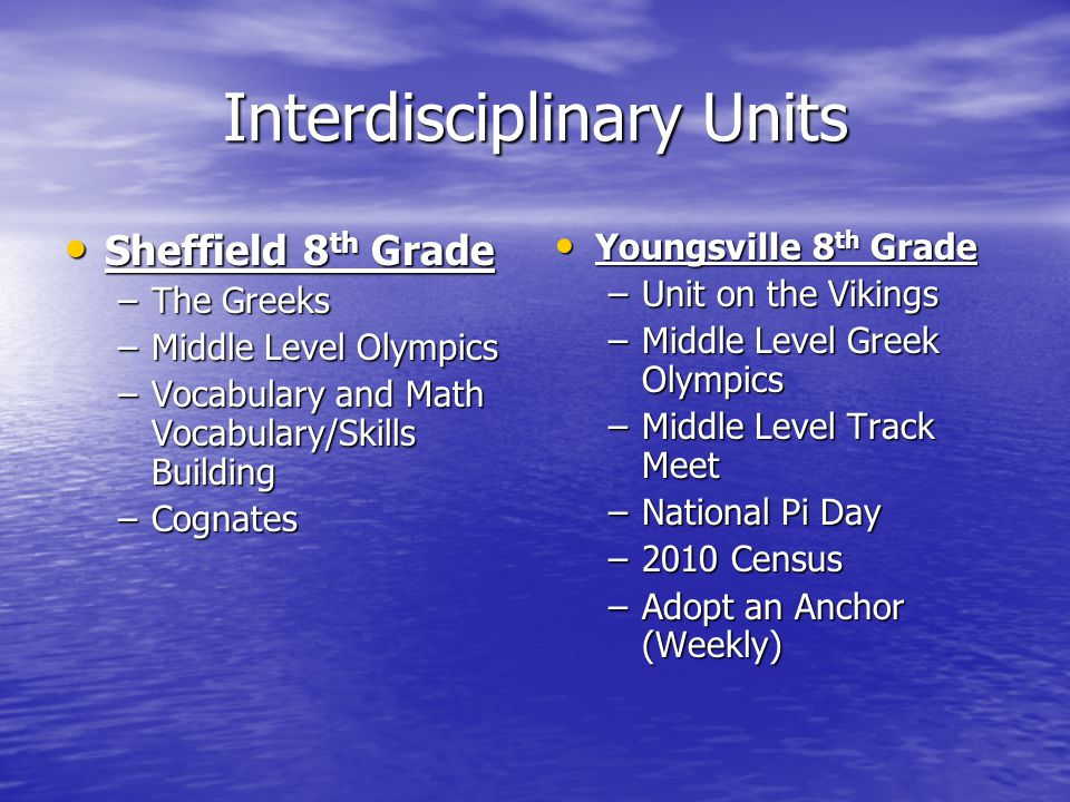 Interdisciplinary Units Sheffield 8 th Grade Sheffield 8 th Grade –The Greeks –Middle Level Olympics –Vocabulary and Math Vocabulary/Skills Building –Cognates Youngsville 8 th Grade Youngsville 8 th Grade –Unit on the Vikings –Middle Level Greek Olympics –Middle Level Track Meet –National Pi Day –2010 Census –Adopt an Anchor (Weekly)