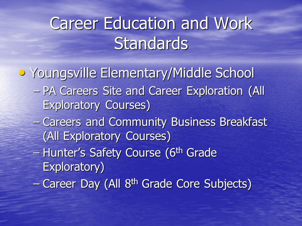 Career Education and Work Standards Youngsville Elementary/Middle School Youngsville Elementary/Middle School –PA Careers Site and Career Exploration (All Exploratory Courses) –Careers and Community Business Breakfast (All Exploratory Courses) –Hunter's Safety Course (6 th Grade Exploratory) –Career Day (All 8 th Grade Core Subjects)