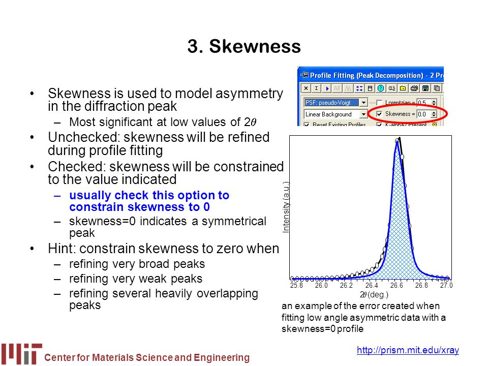 Center for Materials Science and Engineering http://prism.mit.edu/xray 3. Skewness Skewness is used to model asymmetry in the diffraction peak –Most s