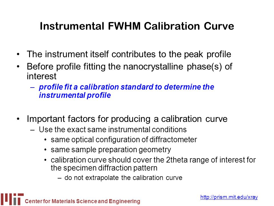Center for Materials Science and Engineering http://prism.mit.edu/xray Instrumental FWHM Calibration Curve The instrument itself contributes to the pe