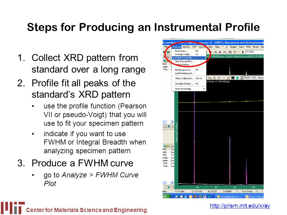 Center for Materials Science and Engineering http://prism.mit.edu/xray Steps for Producing an Instrumental Profile 1.Collect XRD pattern from standard