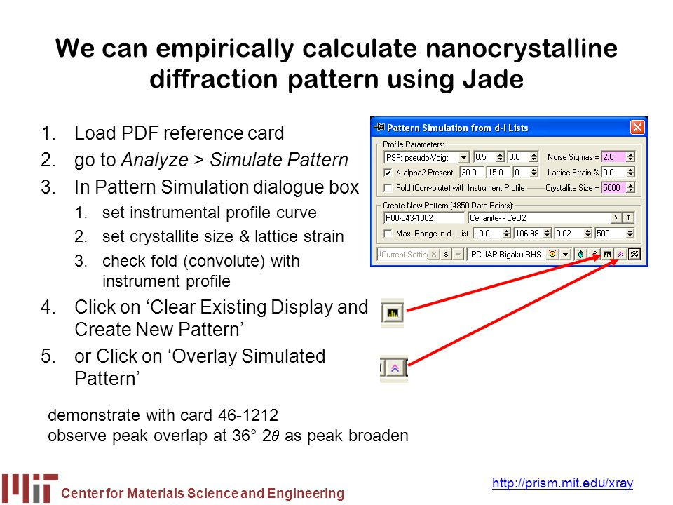 Center for Materials Science and Engineering http://prism.mit.edu/xray We can empirically calculate nanocrystalline diffraction pattern using Jade 1.L