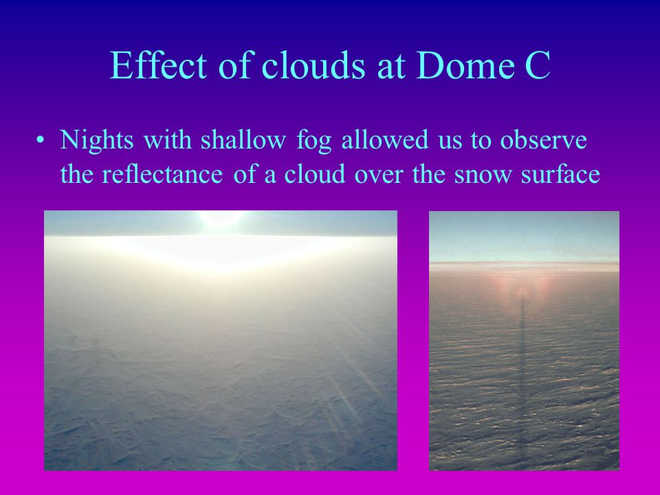 Effect of clouds at Dome C Nights with shallow fog allowed us to observe the reflectance of a cloud over the snow surface
