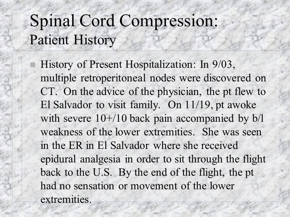 Spinal Cord Compression: Nursing Diagnoses and Interventions n Ineffective Individual Coping related to inadequate level of confidence in ability to cope.