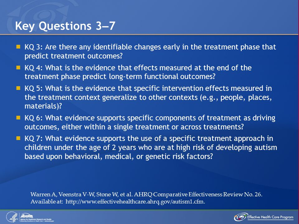  KQ 3: Are there any identifiable changes early in the treatment phase that predict treatment outcomes.