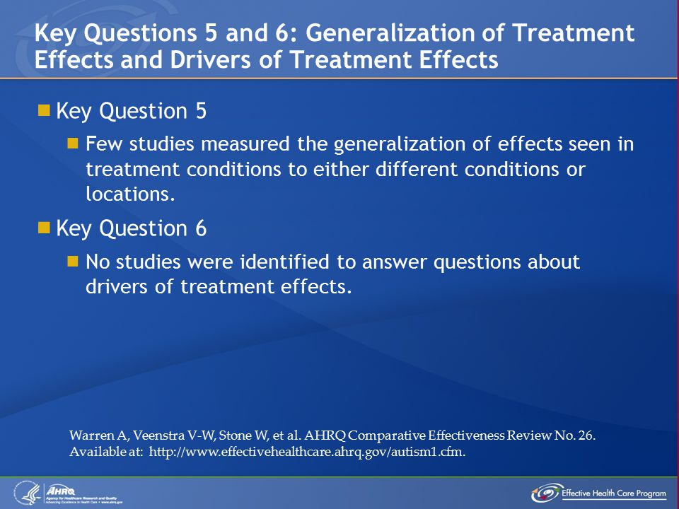  Key Question 5  Few studies measured the generalization of effects seen in treatment conditions to either different conditions or locations.