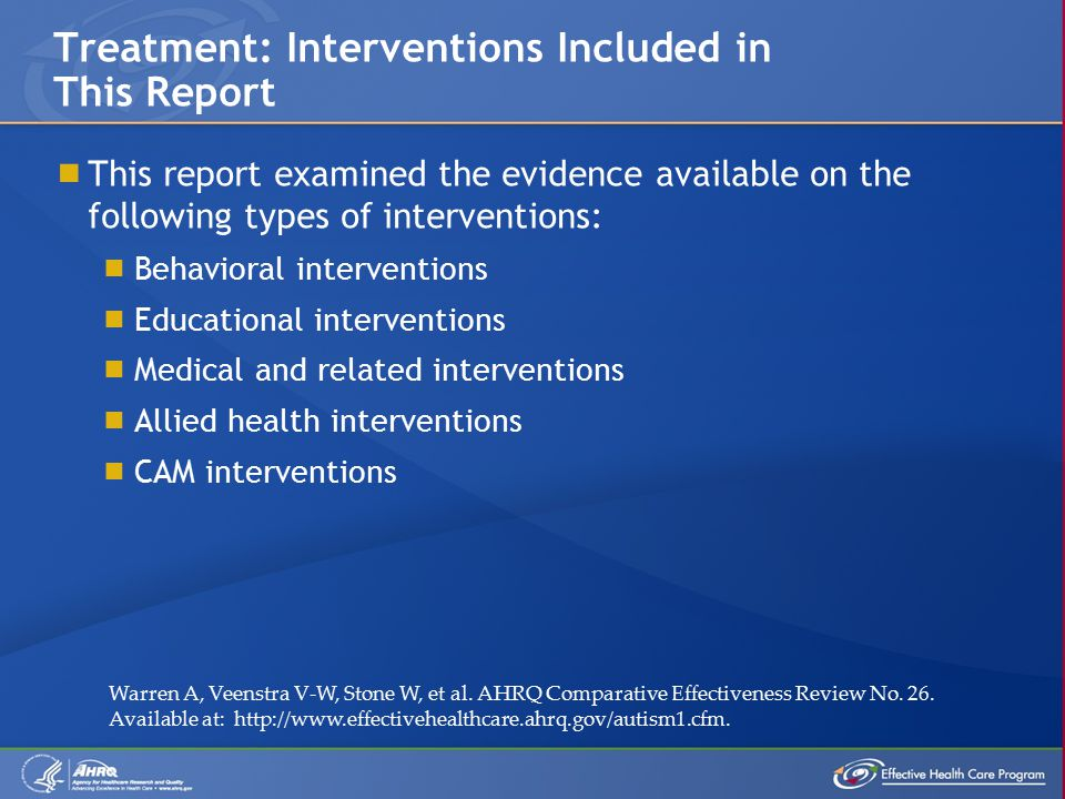  This report examined the evidence available on the following types of interventions:  Behavioral interventions  Educational interventions  Medical and related interventions  Allied health interventions  CAM interventions Treatment: Interventions Included in This Report Warren A, Veenstra V-W, Stone W, et al.