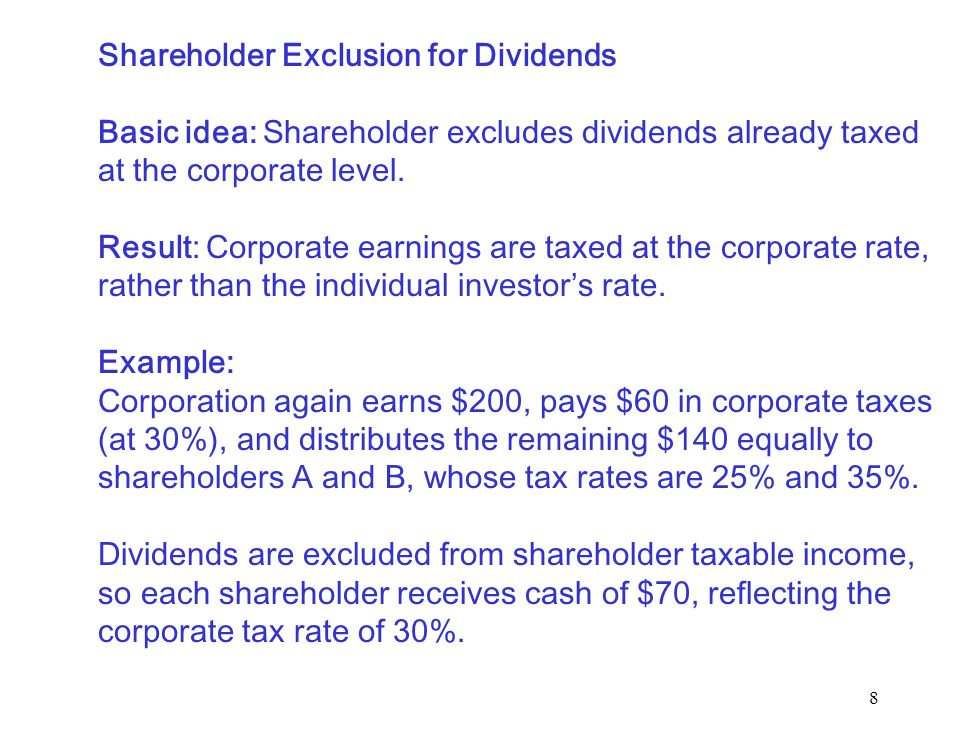 9 Corporate Deduction for Dividends Basic idea: Corporation deducts dividends paid to shareholders.