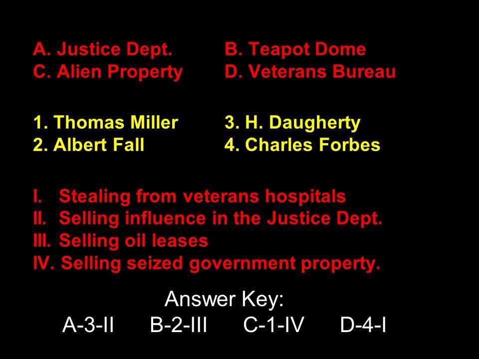 A. Justice Dept.B. Teapot Dome C. Alien PropertyD.