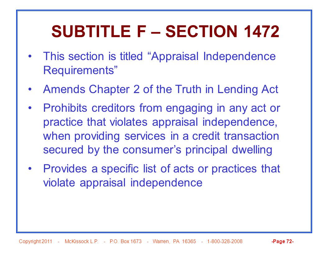 "Copyright 2011 - McKissock L.P. - P.O. Box 1673 - Warren, PA 16365 - 1-800-328-2008 -Page 72- SUBTITLE F – SECTION 1472 This section is titled ""Apprai"