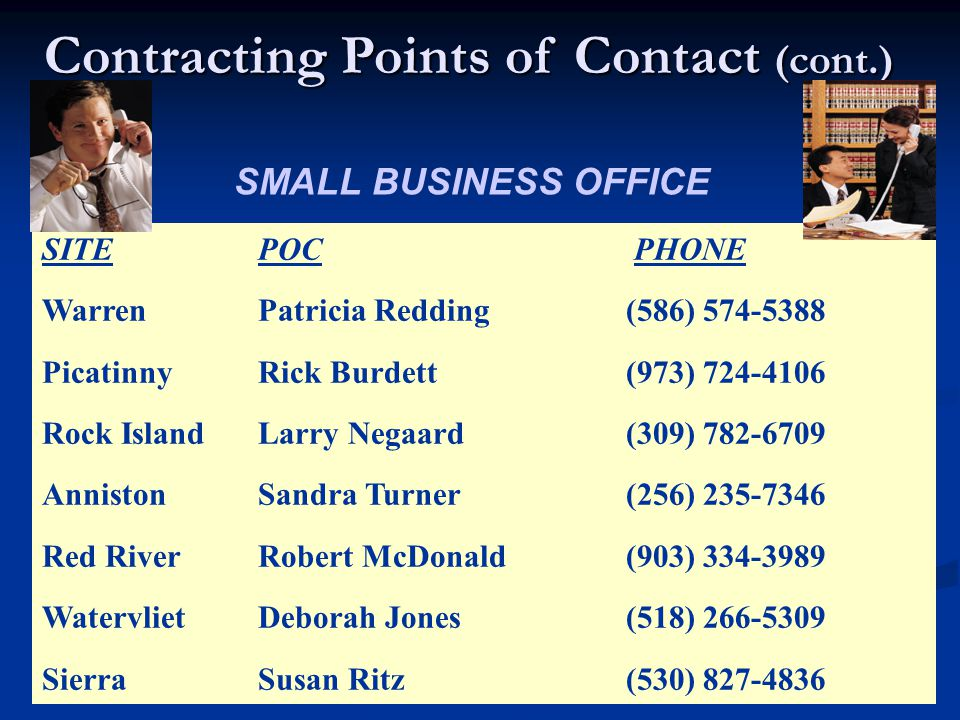 Contracting Points of Contact (cont.) SITE POC PHONE Warren Patricia Redding (586) 574-5388 Picatinny Rick Burdett (973) 724-4106 Rock Island Larry Negaard (309) 782-6709 Anniston Sandra Turner (256) 235-7346 Red River Robert McDonald (903) 334-3989 Watervliet Deborah Jones (518) 266-5309 Sierra Susan Ritz (530) 827-4836 SMALL BUSINESS OFFICE