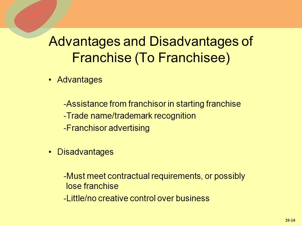 20-16 Advantages and Disadvantages of Franchise (To Franchisee) Advantages -Assistance from franchisor in starting franchise -Trade name/trademark rec