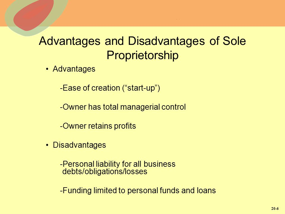20-6 Advantages and Disadvantages of Sole Proprietorship Advantages -Ease of creation ( start-up ) -Owner has total managerial control -Owner retains profits Disadvantages -Personal liability for all business debts/obligations/losses -Funding limited to personal funds and loans