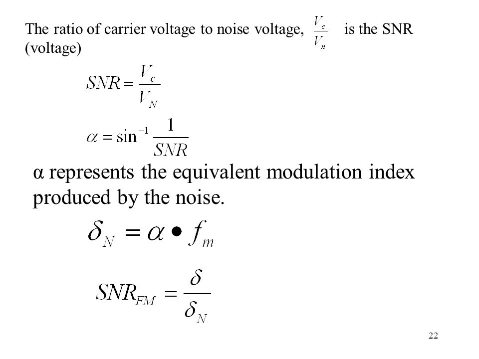 22 The ratio of carrier voltage to noise voltage, is the SNR (voltage) α represents the equivalent modulation index produced by the noise.