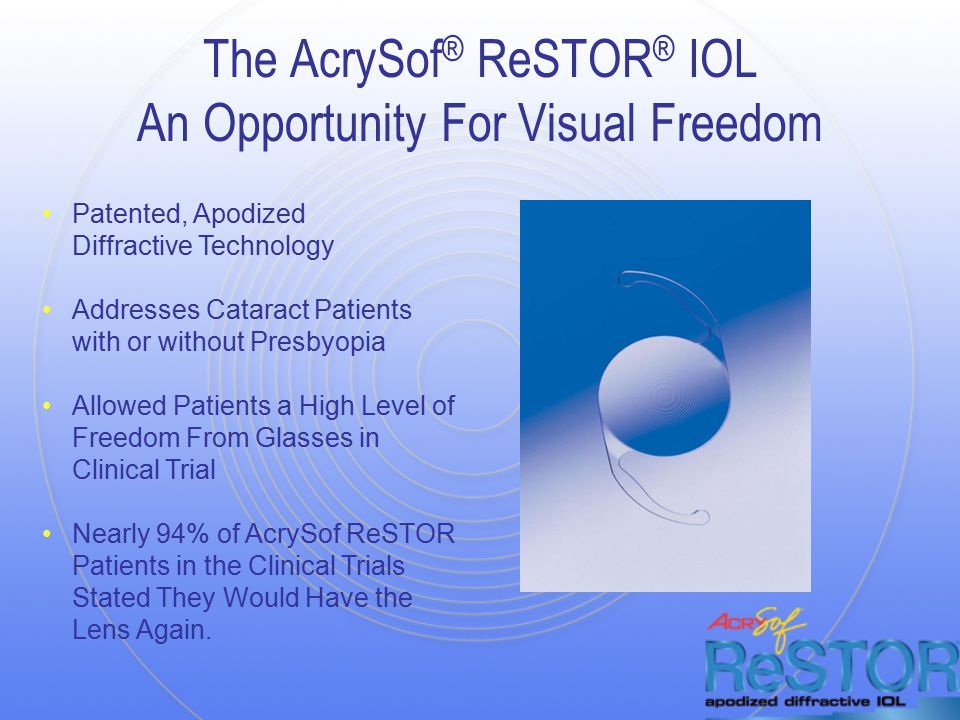 The AcrySof ® ReSTOR ® IOL An Opportunity For Visual Freedom Patented, Apodized Diffractive Technology Addresses Cataract Patients with or without Presbyopia Allowed Patients a High Level of Freedom From Glasses in Clinical Trial Nearly 94% of AcrySof ReSTOR Patients in the Clinical Trials Stated They Would Have the Lens Again.