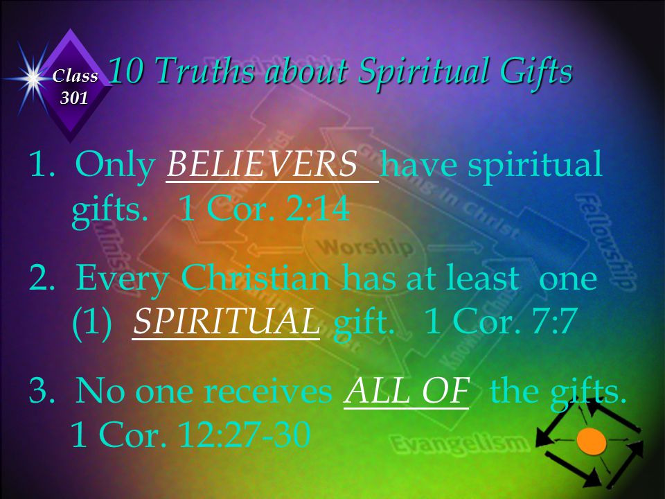 Class 301 10 Truths about Spiritual Gifts 1. Only BELIEVERS have spiritual gifts. 1 Cor. 2:14 2. Every Christian has at least one (1) SPIRITUAL gift.