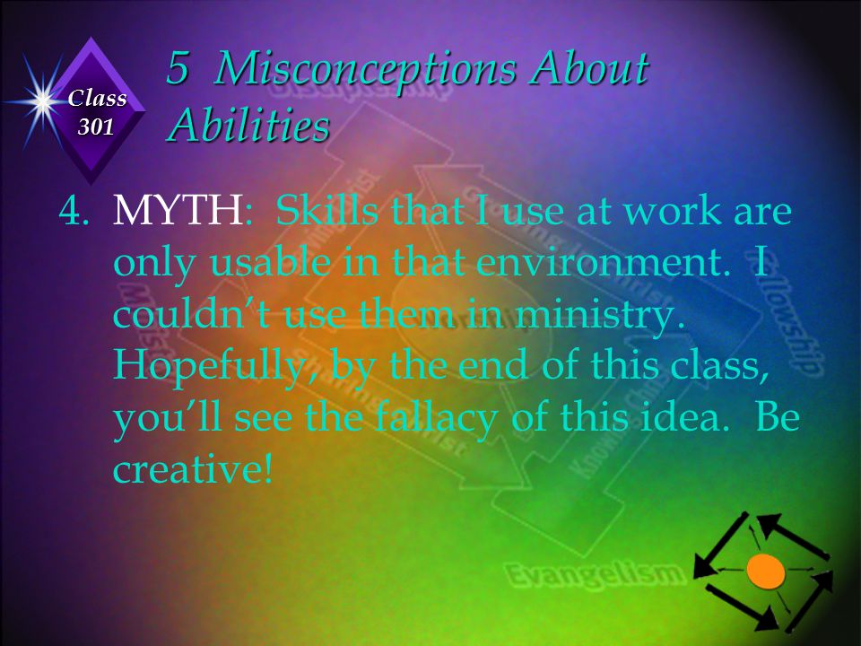 Class 301 5 Misconceptions About Abilities 4. MYTH: Skills that I use at work are only usable in that environment. I couldn't use them in ministry. Ho